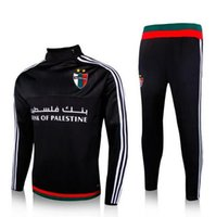 Wholesale Hot sales Palestino soccer tracksuit Palestine black WHITE chandal top quality Palestine training football Free Delivery S__XL