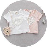 Wholesale Toddler Girls Clothing for Newborn Baby Summer Korean Fashion Lace Flowers Pearls Girls Short Sleeve T Shirt MK