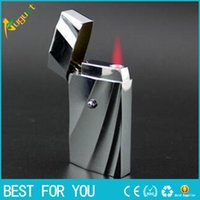 advanced metal sales - Hot sale metal butane cool lighter windproof advanced Striped texture lighter as gift for cigarette or smoke accessary