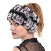 Wholesale Queenfur Genuine Knit Rex Rabbit Fur Headband New Fur Scarf Women Real Rabbit Fur Headwrap Ring New Fashion Natural Fur Hairband