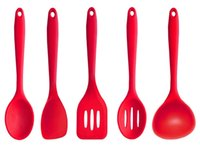 Wholesale Premium Silicone Kitchen Friendly Cooking Utensil Set Piece in Hygienic Solid Coating Red Cooking Tips Serving Tool Easy to Clean