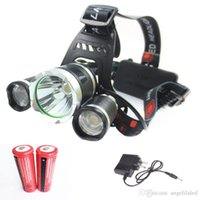 Wholesale LED Headlight LED Cree T6 Q5 Head Lamp High Power LM Flashlight battery Power supply Charger