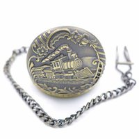 best running watches - Pocket watches With Chain Quartz Movement round alloy Running train Emboss case analog best watch supplier offer discount