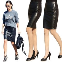 basic skirt - PU leather patchwork women skirts fashion spring black midi pencil skirt ladieswear knee length slim faldas basic jupe femme