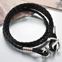 anchor pendant stainless - Price New Silver Stainless Steel Anchor Pendant Bracelet Multilayer Leather Risers Bracelet For Friendship Gift
