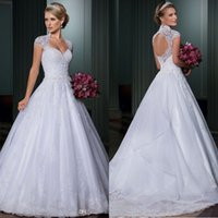 Wholesale 2017 Shinning Rhinestones Appliques Lace Wedding Dresses Sweetheart Bridal Ball Gowns Sleeveless Floor Length Wedding Gown