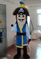 adult pirate shirt - SW0416 an adult Netherland Pirate mascot costume with blue shirt and a hat for adult to wear