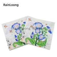 bee napkins - RainLoong Bee Flower Paper Napkin Event Party Supply Printed Dinner Tissue Napkins Serviette Decoupage Table Decoratio cm cm