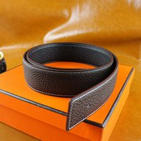 active waist - High quality cowskin genuine leather designer belt for men and women brand waist Belts wtih gold or silver H buckle with box