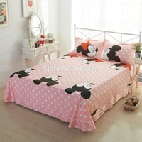 Wholesale Lover Mickey bedding set for double bed Cotton bedclothes minnie mouse print duvet cover sets fast shipping