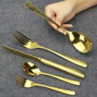 Juego de cubiertos de oro de lujo de 5 piezas de alto pulido Glisten Juego de vajillas de acero inoxidable para el hogar Hotel ect Lavavajillas