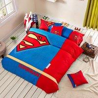 bedclothes batman - 100 Cotton Students Kids Superman Batman Captain American Bedding Set Bedclothes Flitted Bedsheet Duvet Cover Set