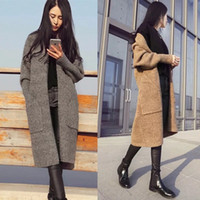 ankle length sweater coat - 2016 autumn winter women cardigan coats jacket Autumn winter woman casual loose hooded ankle length knitted jacket maxi cardigan sweater