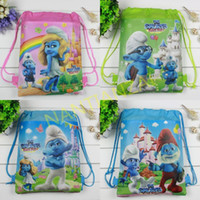 Backpacks best day backpack - Best Quality Smurfs Backpack bags Non woven student bags School bag Kids party gift Lovely cartoon waterproof beach bag