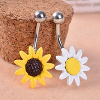 Wholesale Hot Sunflower Flower Bar Belly Button Barbell Ring Navel Body Piercing Jewelry
