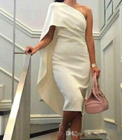 arabic bridal wear - White Formal Cocktail Party Dresses Sheath One Shoulder Celebrity Bridal Evening Dresses Arabic dress Prom Gowns