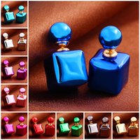 Wholesale Square colorful candy color earrings double size pearl earrings sweet female temperament act the role ofing is tasted