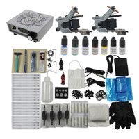 Wholesale Complete Tattoo Kit Tattoo Machines Guns Power Supply USA Orignal Color Inks Foot Pedal Needles Ink Shipping USA Redscorpion