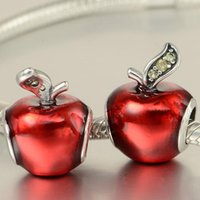 Wholesale New Sterling Silver Snow White Apple Charm Pendant Bead with Red Enamel and Cz Fits European Pandora Jewelry Bracelets Necklace