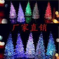 Wholesale Hot Seller Christmas Tree Night Light Halloween Acrylic Crystal Colorful Mini Changing LED night light lamp Decoration Kids Gift