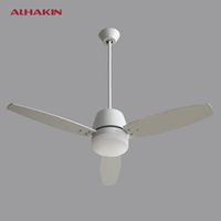 Wholesale ALHAKIN inch Ceiling Fan With Light and Remote Control Stainless Stell Leaf Living Room Restaurant Fan Light Indoor Light
