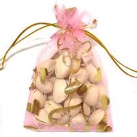 Wholesale 100pcs Gold Heart Organza Packing Bags Jewellery Pouches Wedding Favors Christmas Party Gift Bag x cm x inch