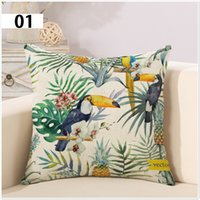 Wholesale Rainforest Southeast Asian Style Pillow Linen Cover Cushion Cover Parrot Pillow Decorative Throw Pillows Case Home Decor Pillow Case