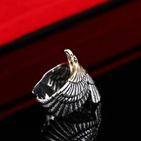 silver eagle - Personality Unique Biker Eagle Ring Stainless Steel Man s High Quality Jewelry Exaggerated Ring