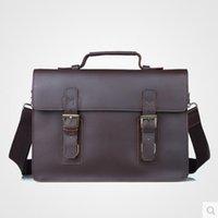 Wholesale Style Men Genuine Leather Vintage Handbag Briefcases Brown Real Leather Shoulder bag Messenger bag Cowhide Laptop bag Recreation bag