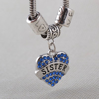 best sister gifts - Heart Charm Bracelets For Gilrs Sister Best Friend Pink Blue Crystal Bracelets Bangles Clover Pulsera Gift Fashion Jewelry