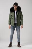 Wholesale 2016 New Fashion men black fur inside jacket raccoon fur collar hood army green coats Mr furs jacket
