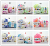 Wholesale Wholdsale g ball Rainbow Space Dyed Yarns Clothing Fabric Super Soft Hand Knitting Knitted Wool Cotton Yarn Baby Sweater Scarves DIY