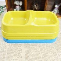 Wholesale Dog Double Bowl Plastic Pet Dog Cat Double Bowl High Quality Dog Dish Pet Supplies Blue Yellow