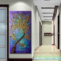 Wholesale Brand New Huge Modern Abstract Golden Flower Tree Oil Painting on Canvas Handpainted Home Wall Decor Paintings A