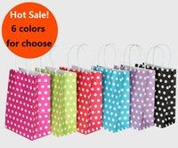 Wholesale Polka Dot kraft paper gift bag with handles cm stationery holder Festival gift bags DIY multifunction