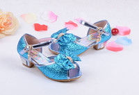 Wholesale Girls high heels blue children sandals snow princess princess shoes year old girl