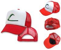 baseball play ball - 2016 Hot Anime Cospaly Hat Poke Go ASH KETCHUM Visor Ball Cap Costume Play Baseball Hat