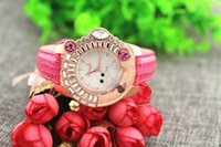 animal watch band - Leather band animal bear crystal on case gold plate case quartz movement Gerryda fashion woman lady quartz crystal watches