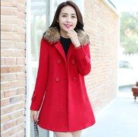 Wholesale 2016 winter women s Double Breasted fur collar Plus Size Wool Coat jacket women slim coats Outerwear