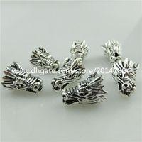 achat en gros de perles d'argent animaux-20112 10pcs Vintage Silver Alloy Holy Animal Vivid Male Dragon Head Spacer Beads