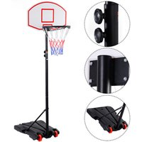 adjustable basketball system - Adjustable Basketball Hoop System Stand Kid Indoor Outdoor Net Goal Wheels