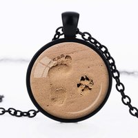 Wholesale Dog pendant necklace lover paw print D personality glass ribbon necklaces jewelry gift footprint Valentine Day fashion hotsale