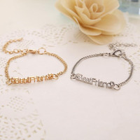 Wholesale ss Special Statement ID bracelet Gold Silver Plated Metal Bracelet For Girls Best Friend Letter style Wristband