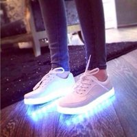 Wholesale Summer fluorescent glow shoes for men and women lovers shoes charging colorful lights led shoes fluorescent han edition white shoe