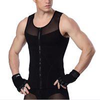 Wholesale Hot Mens Slimming Body Waist Trainer Shaper Sports Vest T Shirt With Zipper Compression Underwear