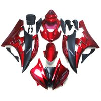al por mayor carenado de la motocicleta kit yzf r6-Carenados para Yamaha YZF600 YZF R6 06 07 YZF-R6 2006 2007 Kit de carenado de motocicleta de ABS de inyección Carrocería de motocicleta Carenado de motocicleta Rojo mate Negro