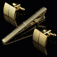 Wholesale Men Plating Metal Necktie Tie Bar Clasp Clip Cufflinks Set Gold C00044 CAD