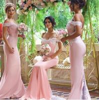 Wholesale Under Mermaid Bridesmaid Dresses Elegant Off the Shoulder Sleeveless Sweep Train Satin Lace Applique Wedding Party Dresses