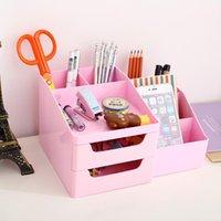 Wholesale deli pen holder deli desktop stationery box drawer cabinets Desk Accessories Organizer desktop box makeup box pen holder