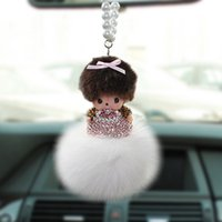 Wholesale 2015 Car New Styling Crystal Fox Fur Monchhichi Jushi Car Rearview Mirror Ornaments Beautiful Car Accessories